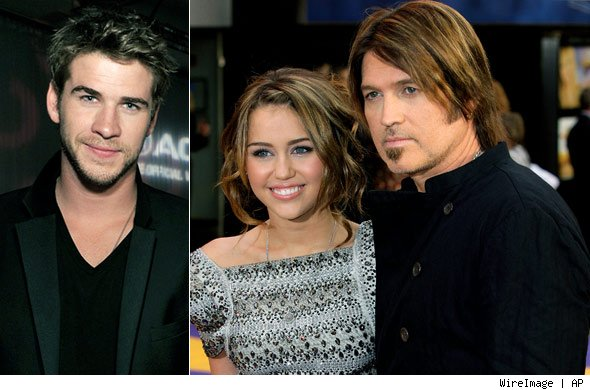 Liam Hemsworth, Billy Ray Cyrus and Miley Cyrus