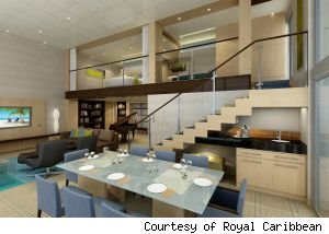 The most expensive and largest loft suite on the ship, the Royal Loft Suite measures 1, 524 square feet and could accommodate up to six passengers.