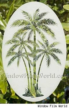tropical design etched glass-like window film