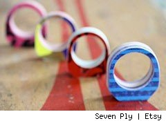 rings made from old skateboards