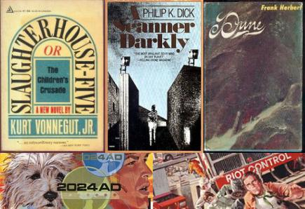 Book Covers: 'Slaughterhouse-Five,' 'A Scanner Darkly,' 'Dune.' Movie Posters: 'A Boy and His Dog,' 'Soylent Green'