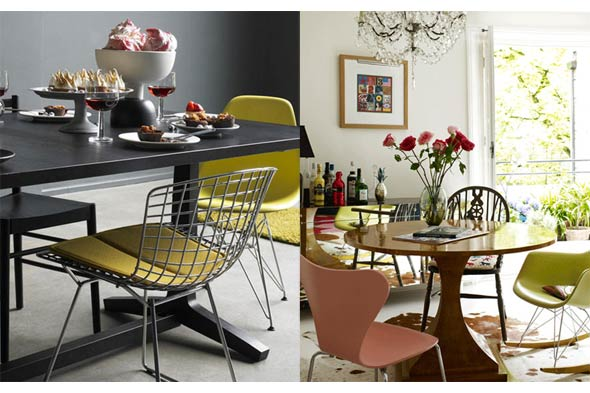 mis-matched dining chairs