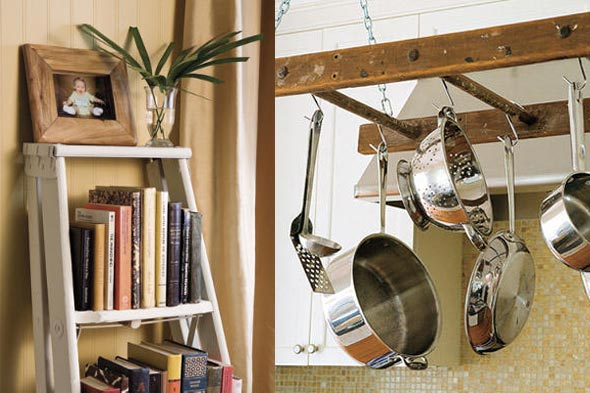 uses for old ladders as decor