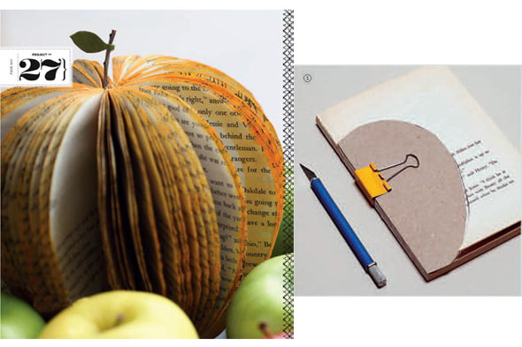 A book turned into the shape of a decorative apple. Process of turning a book into the shape of an apple.