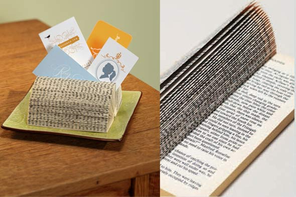 Business card holder made from a book. Process of making a business card holder from a book.