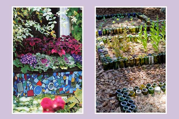 mosaic borders on garden