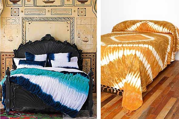 tie dyed bedding from anthropologie and an affordable tapestry from