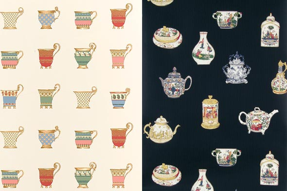 tea design Teapots and teacup patterns on wallpaper from Thibaut.