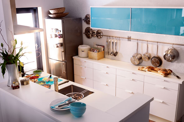 Rubrik glass accent doors in turquoise cost $39 $119 Photo IKEA