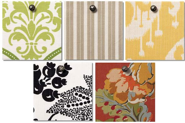 Pottery Barn fabric swatches