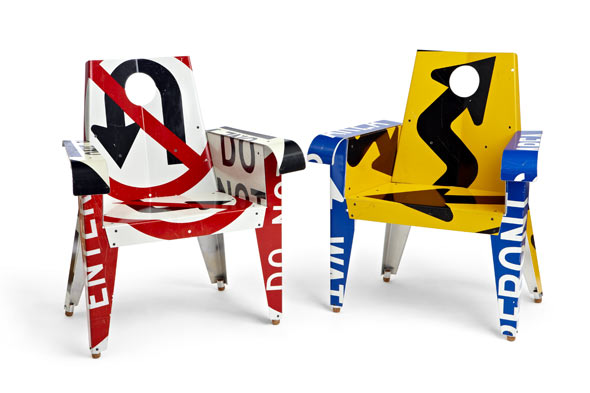 zero waste sign chairs by Boris Bally