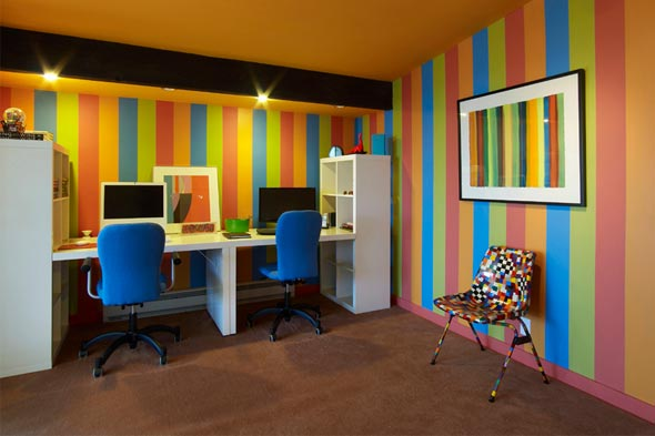 rainbow office makeover bright colors