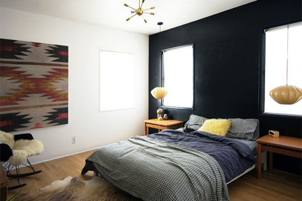 black wall the brick house guest bedroom
