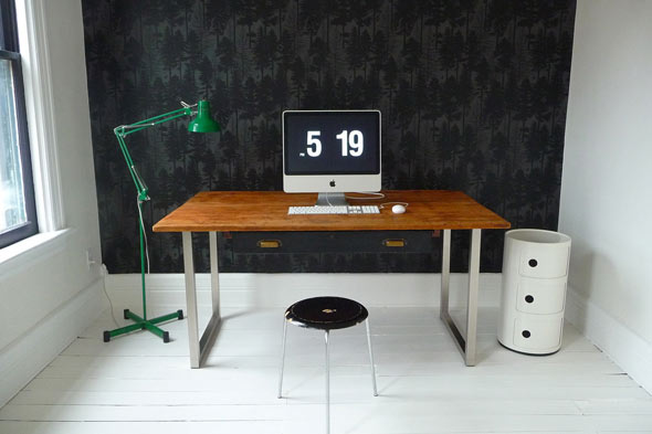 black wall Anna Dorfman black wallpaper office