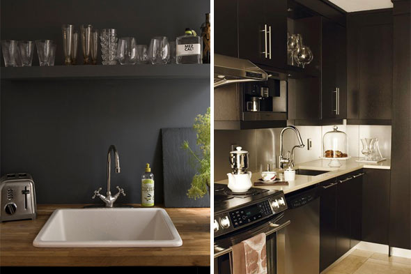 black wall black kitchens