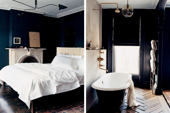 black wall jenna lyons black apartment