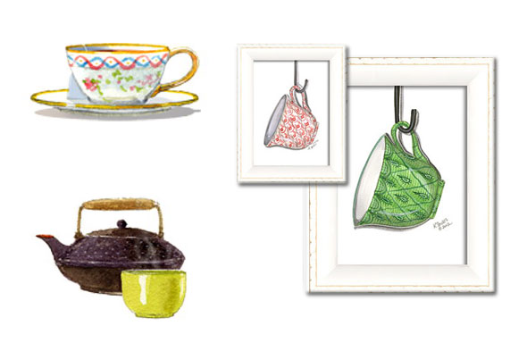 tea design Framed paintings of teacups by Spicher and Company.