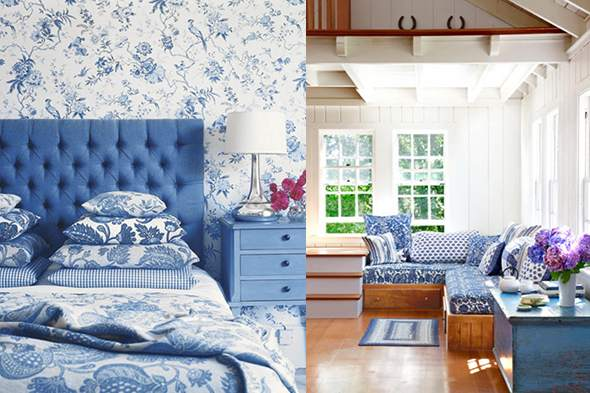 Blue and white bedroom decor images