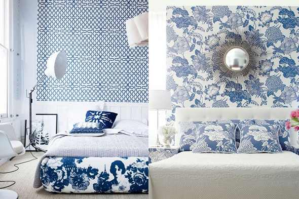 Color Diary Decorating Blue And White Rooms Shelterpop Bedroom Ideas 460x360