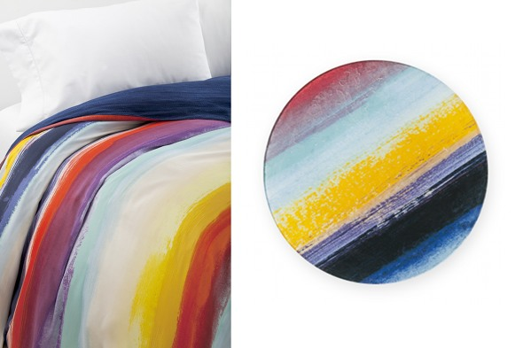 DVF Sun Stripe Watercolor Bedding and Charger