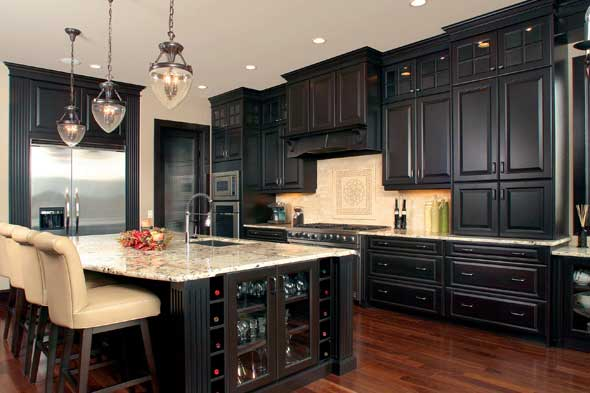 Kitchen ideas white cabinets black appliances 2017 for Black kitchen cabinet design ideas