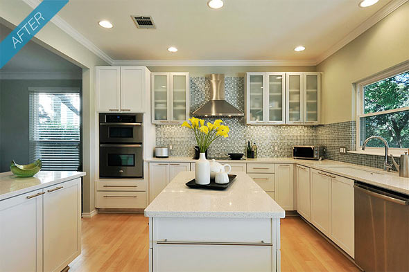 traditional kitchen goes modern  doesn't this look great?  CafeMom