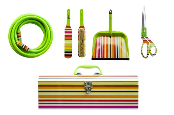 striped tools and cleaning supplies