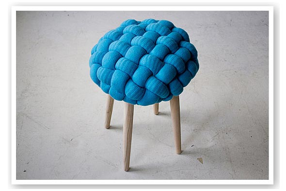 Claire-Anne O'Brien designer knitted stools