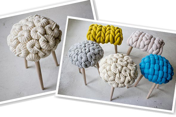 Claire-Anne O'Brien knitted stools