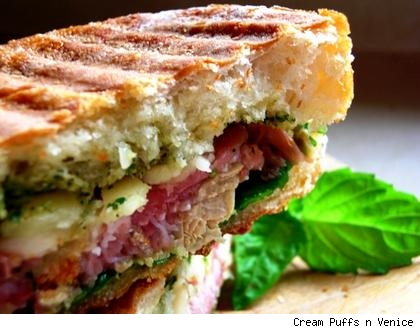 artichoke and pesto panini