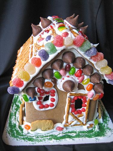 candy-coated gingerbread house