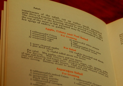 photograph of a page of a 1913 Crisco cookbook