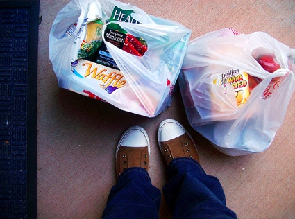 bags of groceries and someone's new sneakers