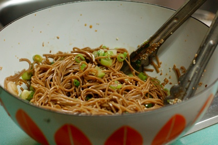 cold soba noodles with sesame seeds in a vintage bowl