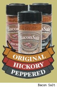 Three bacon salt shakers