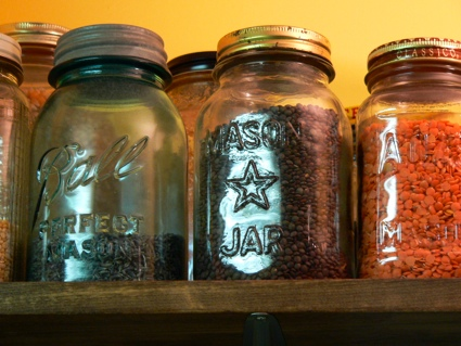 jars on a wooden shelf