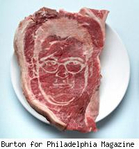 likeness of Craig LaBan etched into a steak