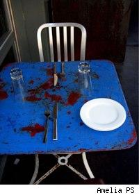 paint splattered blue table