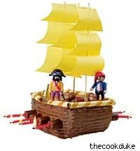 a pirate ship made out of cake