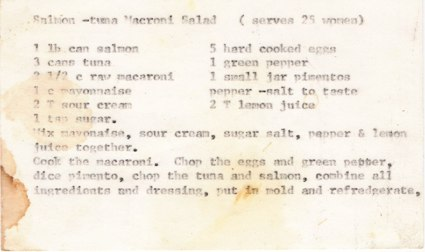 a recipe card of a salmon-tuna macaroni salad