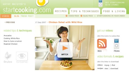 a screengrab of startcooking.com