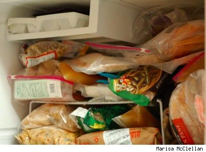 Marisa's very full freezer compartment