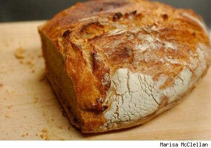 a sliced loaf of no-knead bread
