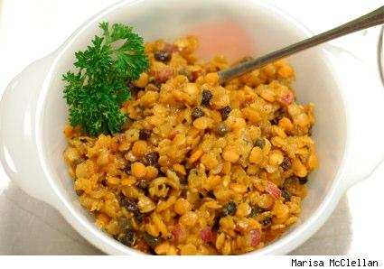a dish of curried red lentil salad