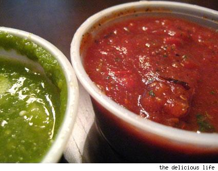 tomatillo and red salsa