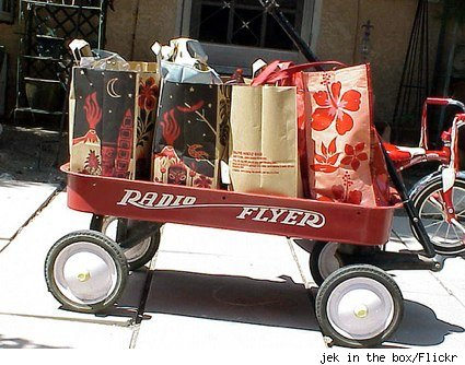 radio flyer wagon with grocery bags