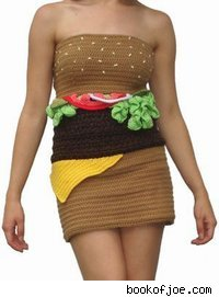 Model in a dress made to resemble a hamburger.