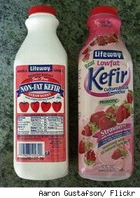Two bottles of Kefir probiotic dairy drink.