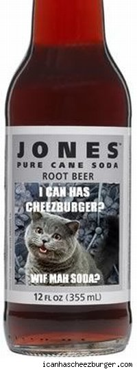 A bottle of Jones Soda with an lol cats image on the label.
