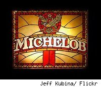 Michelob beer logo done in stained glass.